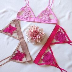 For Love and Lemons skivvies. Beautiful flower bras in pink, fuchsia, and nude.