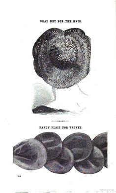 1859 Godey's. At bottom, fancy plait for velvet.