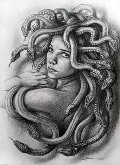 "Saatchi Art is pleased to offer the drawing, ""Medusa. Denis Nunez,"" by Hanoi Martinez. Original Drawing: N/A on Cardboard. Medusa Painting, Medusa Drawing, Medusa Art, Medusa Gorgon, Medusa Tattoo, Medusa Head, Medusa Kunst, Greek Monsters, Ozzy Tattoo"