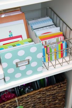 DIY Gift Wrap Organization Station  I need to organize our cards like this