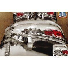 Sivá posteľná bielizeň s motívom mesta Londýn a červeným autobusom