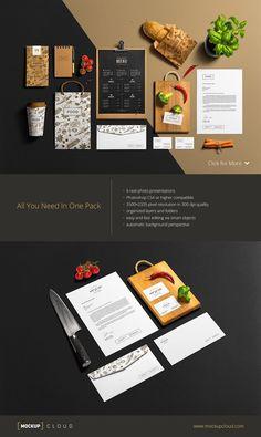 Restaurant & Bar /Stationery Mock-Up by Mockup Cloud on Creative Market Restaurant Design, Restaurant Bar, Mockup Templates, User Guide, Food Menu, The Creator, Scene Creator, Your Design, Web Design