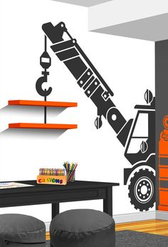 Construction Crane With Truck Vinyl Wall Decal - Boy Girl Bedroom Nursery Decal - Construction Truck Crane Decor - Playroom Wall Decal More
