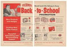 Thermos Lunch Kits Back to School 2-Page Trade (1957)
