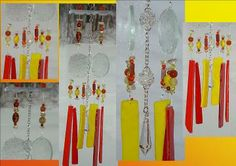 Mini Glass & Crystal Ball Prism Orange Yellow Red Wind Chime by SacredWindChimes for $38.00