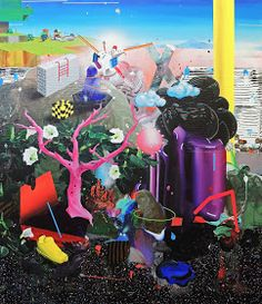 Original Landscape Painting by Edith Torony Acrylic Spray Paint, Spray Paint On Canvas, Spray Painting, Urban Behavior, A Kind Of Magic, Garden Of Earthly Delights, 15 December, Hieronymus Bosch, Recycling Bins