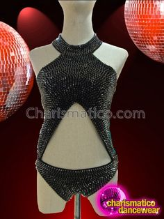 Charismatico Dancewear Store - CHARISMATICO High Necked Metallic Black Spike Studded Diva Leotard With Cutouts, $160.00 (http://www.charismatico-dancewear.com/charismatico-high-necked-metallic-black-spike-studded-diva-leotard-with-cutouts/)