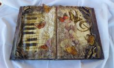 book,  music book made withe decoupage and sospeso butterflies
