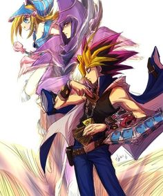 """YUGIOH: One of the ongoing mantras in Yugioh is the saying """"Believe in the heart of the cards"""", meaning that you should have faith in the monsters that they summon to battle for you. Here is a fanart depiction of Yugi and his most trusted monsters, Dark Magician and Dark Magician Girl. These two monsters initially seemed like reliable strong monsters, but later in the series are shown to play a pivotal role in Yugi's end goal, as a result of his strong bond with these two monsters."""