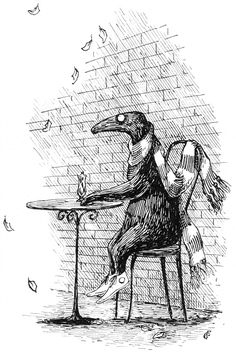 """Illustration from ''The Doubtful Guest"""" (1957) (Courtesy of the Gorey Trust)"""