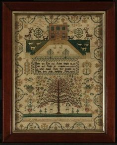 British, 1834, Elizabeth Labdon.  I am nuts about that tree at the bottom -- those branches are going everywhere.  Pleasant composition, very good color, still, and that border is hinky, dinky, doo (the four corners don't match each other.  I love asymmetry, especially in an otherwise symmetrical piece.)