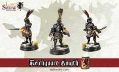 Reichguard foot knight with had weapon and shield sculpted by Sergus and painted by Renton for Warhammer fantasy, Mordheim, Frostgrave, Kings of War, Age of Sigmar. LastSword Miniatures.