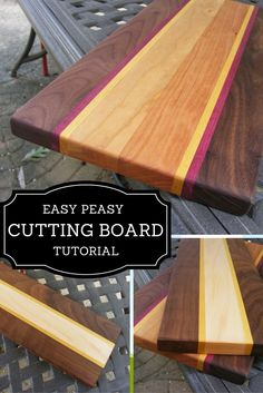 Easy Peasy Cutting Board Tutorial Learn how to make this easy peasy wooden cutting board, only using 3 simple tools. Would you believe you can purchase these boards in a convenient kit? Check out my wood cutting board tutorial. Woodworking Projects That Sell, Learn Woodworking, Popular Woodworking, Woodworking Crafts, Woodworking Plans, Woodworking Nightstand, Woodworking Jointer, Woodworking Quotes, Japanese Woodworking