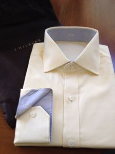 My newest addition, a yellow/white screen print with a small blue check on the interior collar and cuff. A 2 button cutaway collar helps set off my own personal touch. #jhilburn #jhilburnco #customshirt #style #swag #fashionformen #menswear #mensstyle #mensclothing Available at http://richardaldrich.jhilburn.com