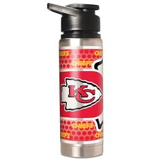 Officially Licensed NFL 20 oz. Double Wall Stainless Steel Water Bottle with Metallic Graphics - Kansas City Chiefs