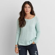 AEO Sedona Sweater featuring polyvore, fashion, clothing, tops, sweaters, cream mint, chunky cable knit sweater, mint green sweater, crewneck sweater, pullover sweater and cream cable sweater