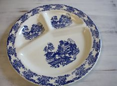 Blue Willow Vintage Porcelain Grill Plate Made in by CitizenNEST
