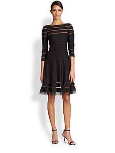 Tadashi Shoji Illusion-Inset Jersey Dress
