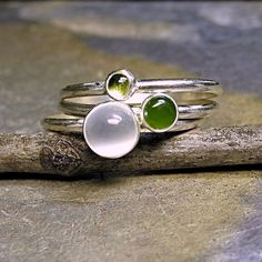 Rain Forest - set of 3 stacking rings in sterling silver.  White moonstone, jade, peridot.   ...from LavenderCottage on Etsy