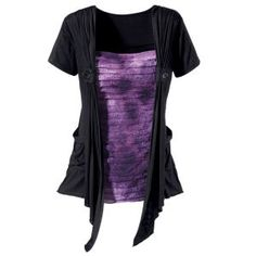 Rippled Purple and Black Top - New Age & Spiritual Gifts at Pyramid Collection