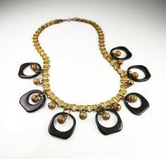 Antique Art Deco Black Bakelite Gold Bead Book by zephyrvintage, $125.00
