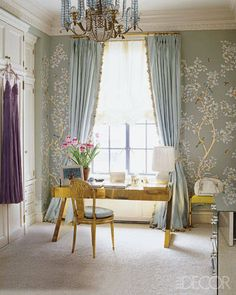 "Aerin Lauder's dressing room in her Manhattan apartment. Gracie wall covering, chandelier by Bagues, desk by Gabriella Crespi. Photography by Simon Upton. ""At Home With Stylesetter Aerin Lauder"" Elle Decor (July - August Chinoiserie Wallpaper, Chinoiserie Chic, De Gournay Wallpaper, Zuber Wallpaper, Chinoiserie Fabric, Elle Decor, Gracie Wallpaper, Painted Wallpaper, Wallpaper Panels"