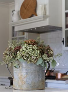 FALL HOME DECOR fall kitchen tour hydrangeas in zinc french bucket white kitchen breadboards French Country Rug, French Country Kitchens, French Cottage, French Country Decorating, French Farmhouse, Farmhouse Style, French Style, Farmhouse Decor, Cottage Decorating