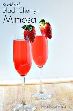 Sweetheart Black Cherry+ Mimosa | Real Housemoms | Perfect for Valentine's Day! #cocktail #mimosa