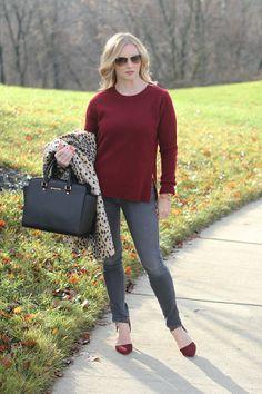 gray jeans, burgundy sweater, oxblood, leopard coat  http://www.simplylulustyle.com/2013/12/zipped.html