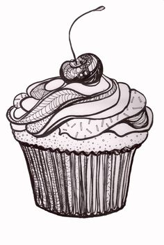 Cupcakes, sorvetes, bolos e doces (Cupcakes, ice creams, cakes and sweets) Cute Cupcake Drawing, Cupcake Art, Cupcake Illustration, Wedding Cakes With Cupcakes, Fun Cupcakes, Diy Image, Cupcake Tattoos, Baby Shower Cupcakes For Girls, Black And White Drawing