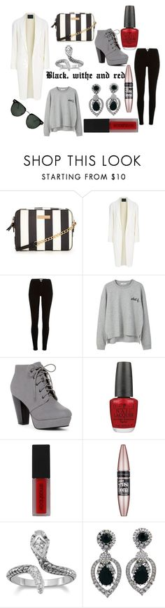 """""""Balck, withe and red"""" by isaline-de-soie on Polyvore featuring mode, Alexander Wang, River Island, MANGO, OPI, Smashbox, Maybelline, Ciner et Spitfire"""