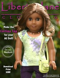 Pixie Faire Liberty Jane Cortina Top Doll Clothes Pattern for 18 inch American Girl Dolls - PDF Sewing Doll Clothes, American Doll Clothes, Sewing Dolls, Ag Dolls, Girl Doll Clothes, Doll Clothes Patterns, Doll Patterns, Clothing Patterns, Girl Dolls