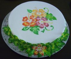 fondant painted with a stencil