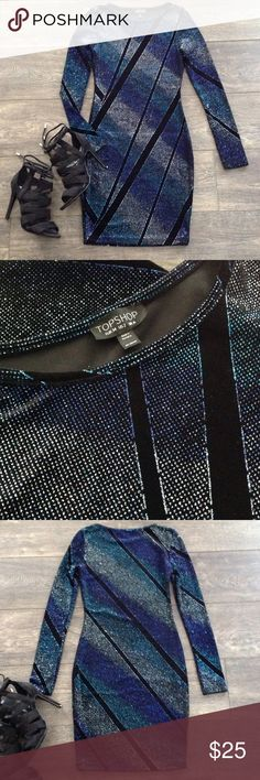 Topshop glittery long sleeve bodycon dress Perfect condition, stretchy body-con style has black background with silver, aqua and violet glitter. It's not nearly as messy as it sounds  Topshop Dresses