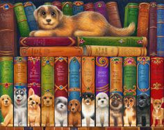 Dog Bookshelf Jigsaw Puzzle | What's New | Vermont Christmas Co. VT Holiday Gift Shop