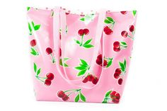Reversible Oilcloth Totebag - Pink Cherry