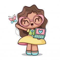Happy girl with butterfly Free Vector Doodles Kawaii, Griffonnages Kawaii, Butterfly Games, Cartoon Mignon, 2 Clipart, Cute Clipart, Art Mignon, Cute Cartoon Girl, Art Et Illustration