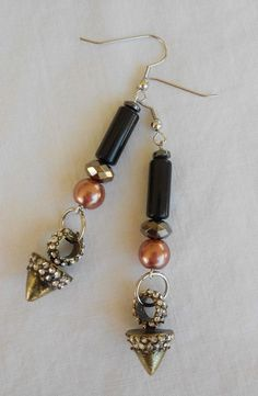 Fashion Earrings Drop Dangle Black Tube Copper Beads Faceted Cone Charm 3''