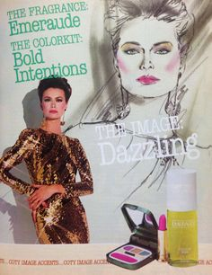 "Coty ""Bold Intentions"" Makeup ""Color Kit"" Ad, 1984"