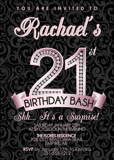 21st Birthday Invitation - Adult Birthday Party Invitation - Milestone Pink Diamond