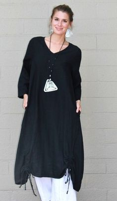 56ddab7bb2d ET LOIS USA Linen VENUS TUNIC Long Drawstring Detail Dress S M L XL BLACK