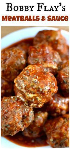 Bobby Flay's meatball (and sauce) recipe is a perfect combination of ingredients.- Bobby Flay's meatball (and sauce) recipe is a perfect combination of ingredients and flavors, this will be your new go-to meatball recipe! Meatball Sauce, Meatball Recipes, Meat Recipes, Dinner Recipes, Cooking Recipes, Wing Recipes, Barbecue Recipes, Meatloaf Recipes, Snacks