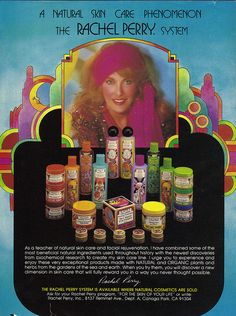 """""""It only takes 20 bottles of my natural products to look this unnatural."""" (Funny bad retro beauty care ads)"""
