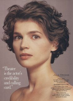 The hair is kinda but Julia Ormond makes everything beautiful. Fan Art of Julia Ormond for fans of Julia Ormond 9245888 80s Haircuts, Short Curly Haircuts, Cute Haircuts, Short Wavy Hair, Curly Hair Cuts, Short Hair Cuts For Women, Curly Hair Styles, Julia Ormond, Great Hair