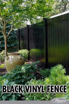 Need a fence idea? Black PVC vinyl fence from #illusionsfence. This particular style is the V300-6. 6' high tongue and groove PVC Vinyl Fence in Grand Illusions Color Spectrum Black (L105). It blends into the background as opposed to taking it over. The black matches great with ornamental aluminum style fencing products as well.