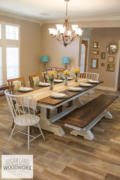 Farmhouse table plans & ideas find and save about dining room tables . See more ideas about Farmhouse kitchen plans, farmhouse table and DIY dining table Farmhouse Table Plans, Farmhouse Dining Room Table, Dining Room Furniture, Dining Rooms, Farmhouse Style, Room Chairs, Kitchen Tables, Modern Farmhouse, Farm Tables