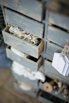 Vintage items in vintage drawers. Lovely DOF.