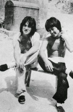 "gutsanduppercuts: "" Jackie Chan and Yuen Biao on the set of ""The Young Master."" """