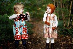 Autumn Fox  Jumper Dress modern girls fall tunic by LottieDaBaby, $44.00