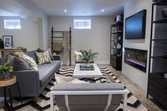 """Check out this gorgeous Prism Install on """"Property Brothers: Buying & Selling"""" episode 409 - Derek & Melanie Dimplex Fireplace, Linear Fireplace, Cozy Fireplace, Living Room With Fireplace, Living Rooms, Building Design, Building A House, Hgtv Property Brothers, Basement Colors"""